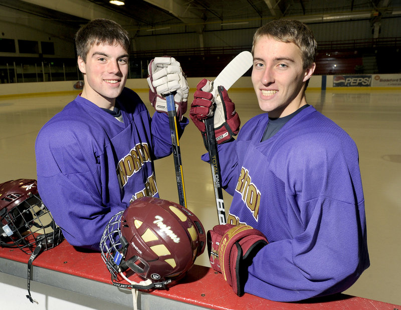 Sam Canales, left, and Jon Pate, senior co-captains for Thornton Academy, realize the Trojans have had good teams in the past, but bowed out early in the postseason.