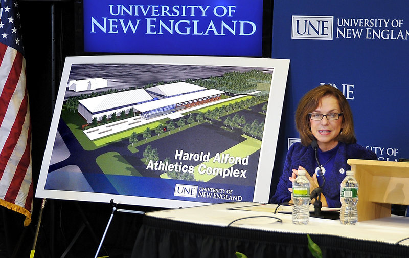 """I predict this will become the heart of all the activities"" on campus, University of New England President Danielle Ripich said Friday as she announced a $10 million donation to the Biddeford school and plans to build a new athletics complex."