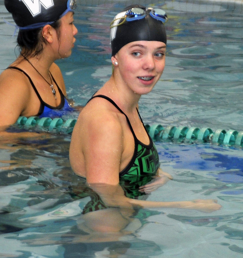 Colby Harvey, a Waynflete freshman, swam a 100-yard butterfly for her club team that was faster than the time that won the Class B title.