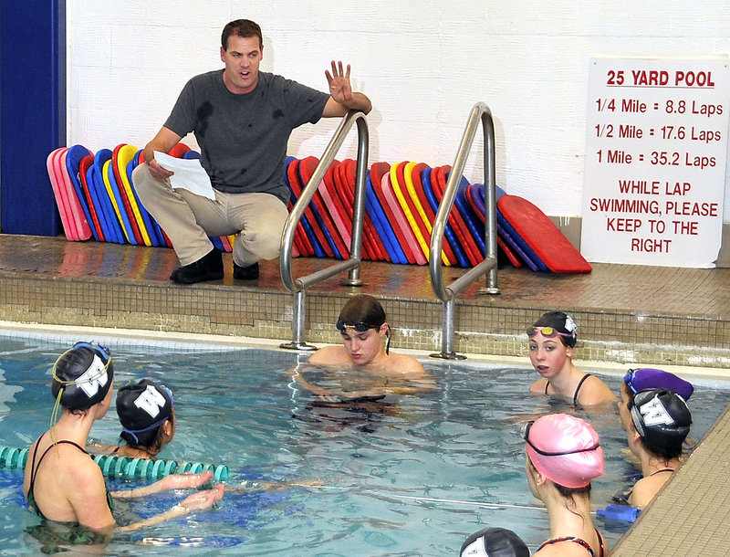 Jim Harvey, a former swimmer for Bucknell and the U.S. national team, is the head coach for a Waynflete team made up of 13 girls, including his daughter, and one boy.