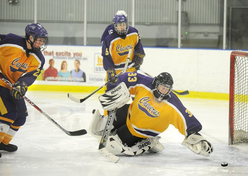 Max Boucher is in his second season as the starting goalie for Cheverus, which posted a winning record last winter for the first time since it captured back-to-back Class A titles in 2005 and 2006.