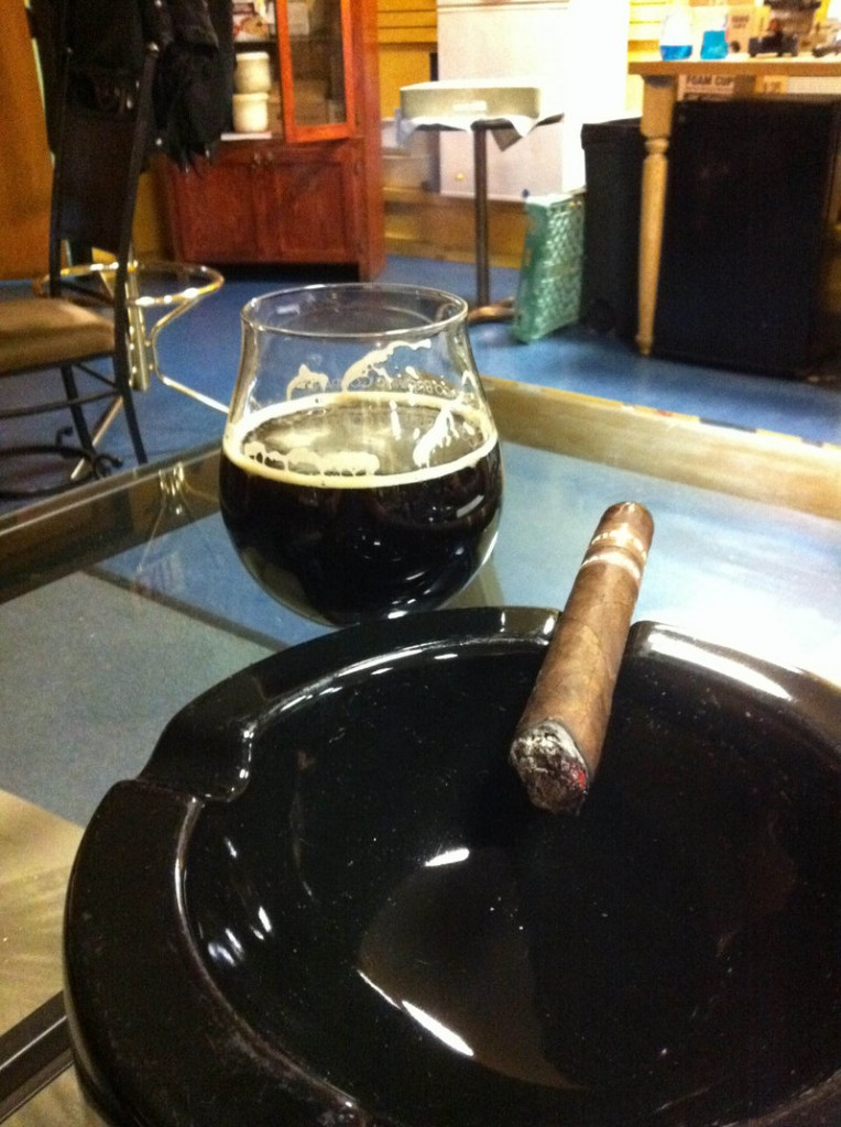 For visual appeal, shop owner Ali Bahmani enjoys matching the color of his cigars to the color of the beers.
