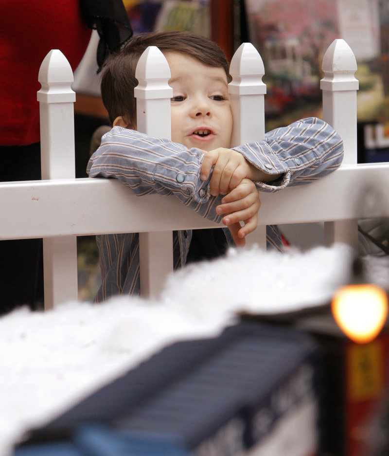 Phillip John Smith, 3, of Scarborough watches a train pass by at the Garden Railway Society of Maine's first Christmas display at the mall. The society, started nine years ago by Carl Churchill of Buxton, has 140 members.