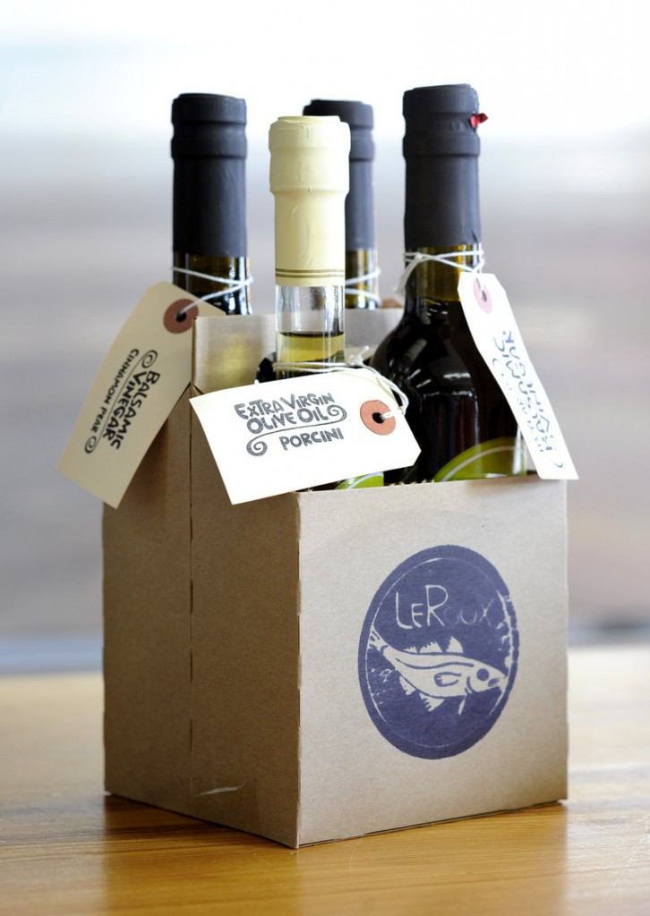 Gift packs of olive oils and vinegars are big sellers this year at Le Roux Kitchen on Commercial Street in Portland.