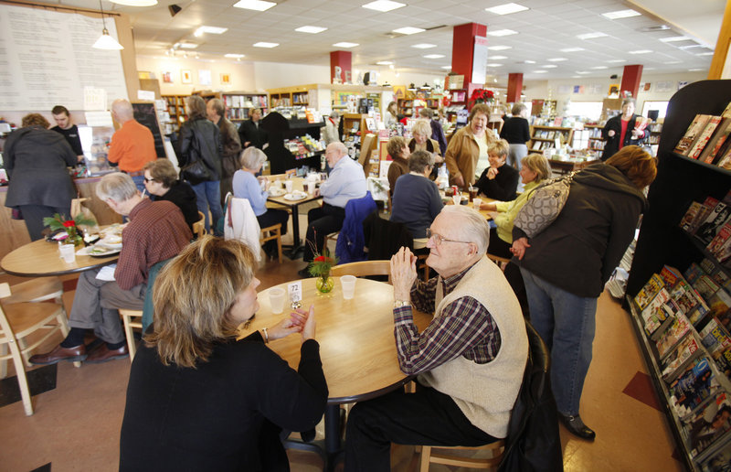 Patrons enjoy lunch, conversations and books at Watermark Books and Cafe in Wichita, Kan., as some independent bookstores reported double-digit sales gains this year.