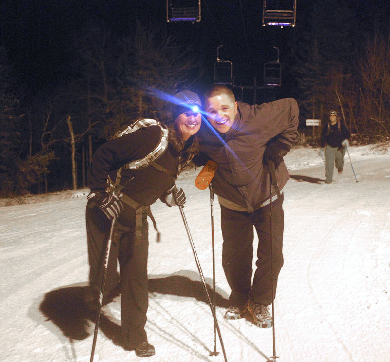 Christine and Vaughn Clark enjoy the hike at Mt. Abram before skiing down Dec. 18.