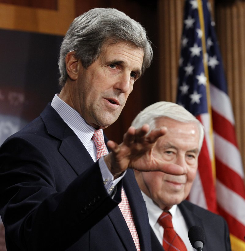 Sen. John Kerry, D-Mass., left, and Sen. Richard Lugar, R-Ind., say they will support the New START agreement on Capitol Hill in Washington on Tuesday. A vote is expected today.