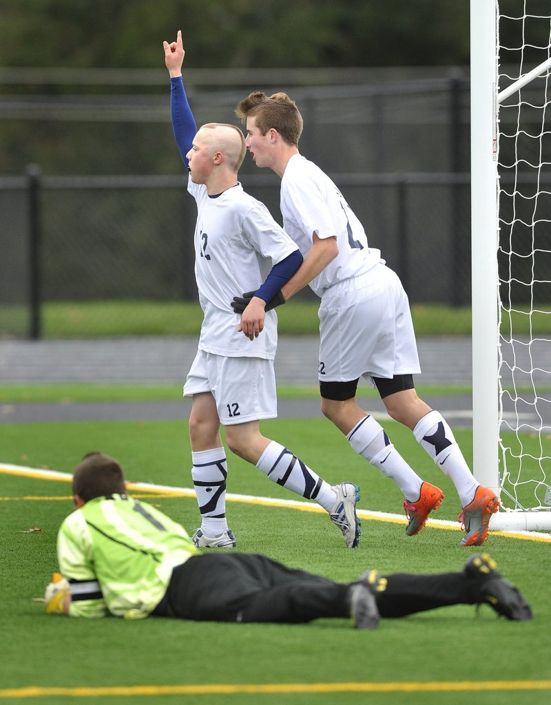 Yarmouth did its share of celebrating in the fall months, not just defeating Ellsworth to win the Class B boys soccer championship, but also winning the Class C football state title.