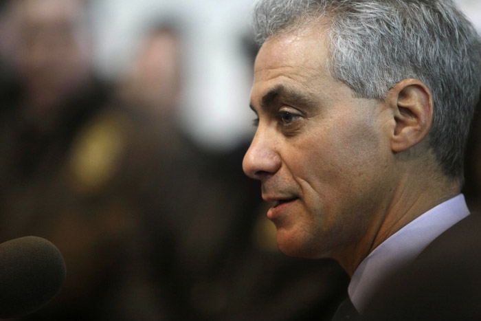 Former White House Chief of Staff Rahm Emanuel accepts the endorsement of Teamsters Joint Council 25 in his bid for mayor of Chicago today.