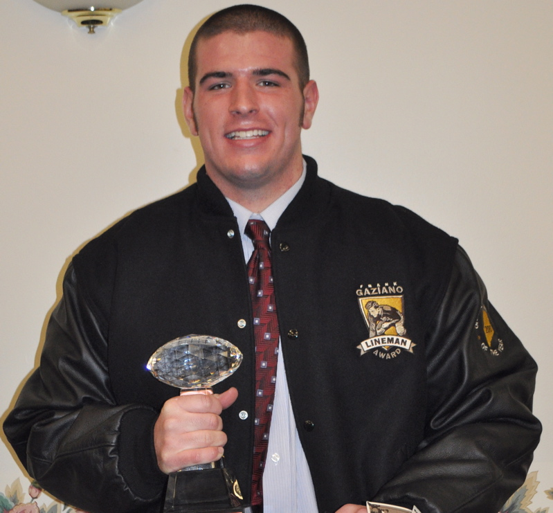 Matt Welch of South Portland received the Frank Gaziano Memorial Offensive Lineman award today at a ceremony in Augusta.