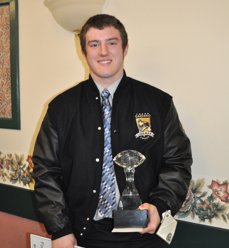Nate Martell of Bonny Eagle won the Frank J. Gaziano Memorial Defensive Lineman Award today at a ceremony in Augusta.