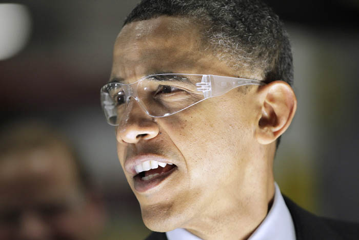 President Barack Obama tours Orion Energy Systems, a company that makes high-efficiency lighting and renewable solar technology in Manitowoc, Wis., today.