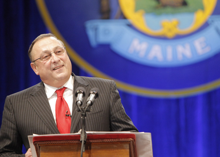 Gov. Paul LePage acknowledges an audience estimated at 5,000 after his swearing-in today at the Augusta Civic Center.