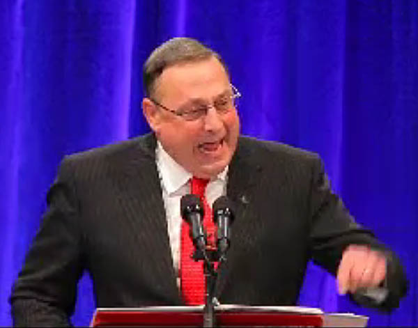 Paul LePage delivers his first speech as governor after being sworn in today at the Augusta Civic Center.