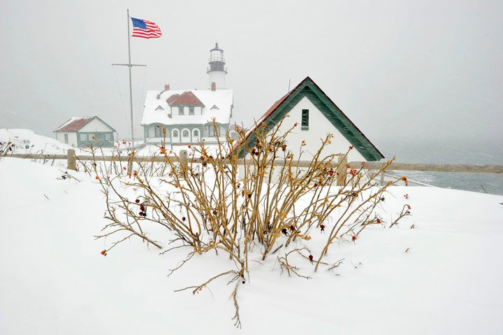 Portland Head Light during this morning's snow storm.