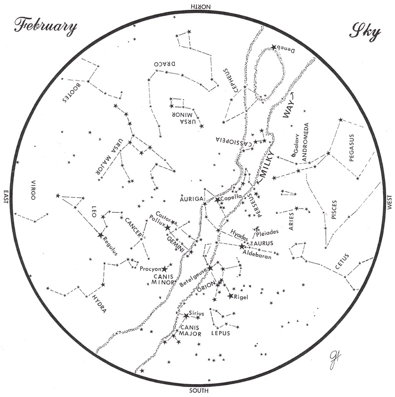 This chart represents the sky as it appears over Maine during February. The stars are shown as they appear at 9:30 p.m. early in the month, at 8:30 p.m. at midmonth and at 7:30 p.m. at month's end. No planets are visible at chart time. To use the map, hold it vertically and turn it so the direction you are facing is at the bottom.