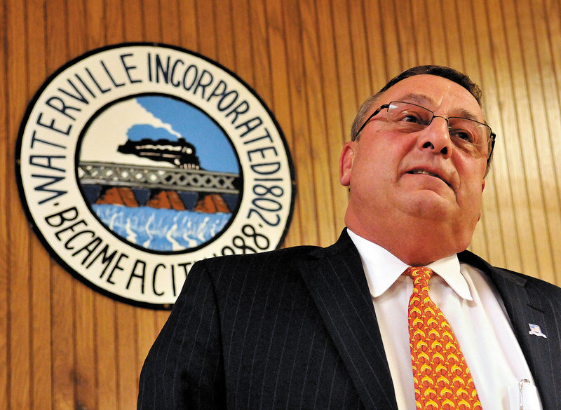 Gov.- elect Paul LePage speaks Tuesday in the council chambers at his last council meeting as mayor of Waterville. He will be inaugurated today in Augusta.