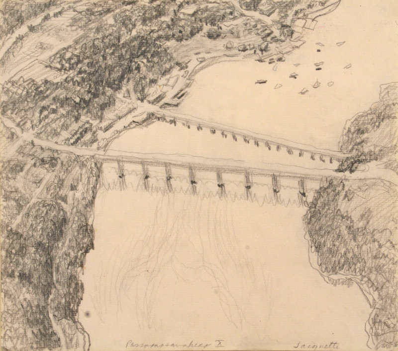 "Yvonne Jacquette's 1971 graphite on paper, ""Passagassawkeag,"" at the Farnsworth Art Museum in Rockland (opens Jan. 22)."