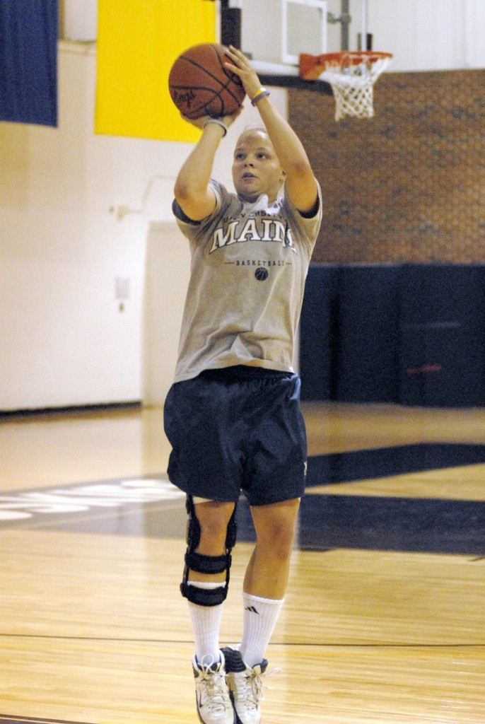 UMaine hoopster Rachele Burns missed last season thanks to an ACL injury. This year, it's the same injury, different knee.