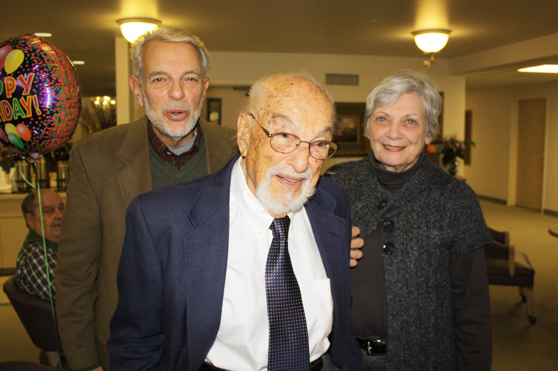 Guy Corriero, his dad, Guido Corriero, who was celebrating his 102nd birthday, and Guy's wife, Sharon.