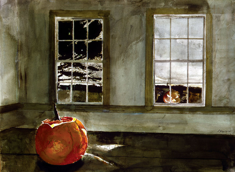 """Mischief Night,"" a 1994 watercolor by Andrew Wyeth."