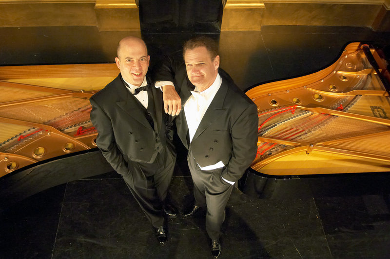 """Tom Frey, left, and Jeffrey Rockwell in """"2 Pianos 4 Hands."""