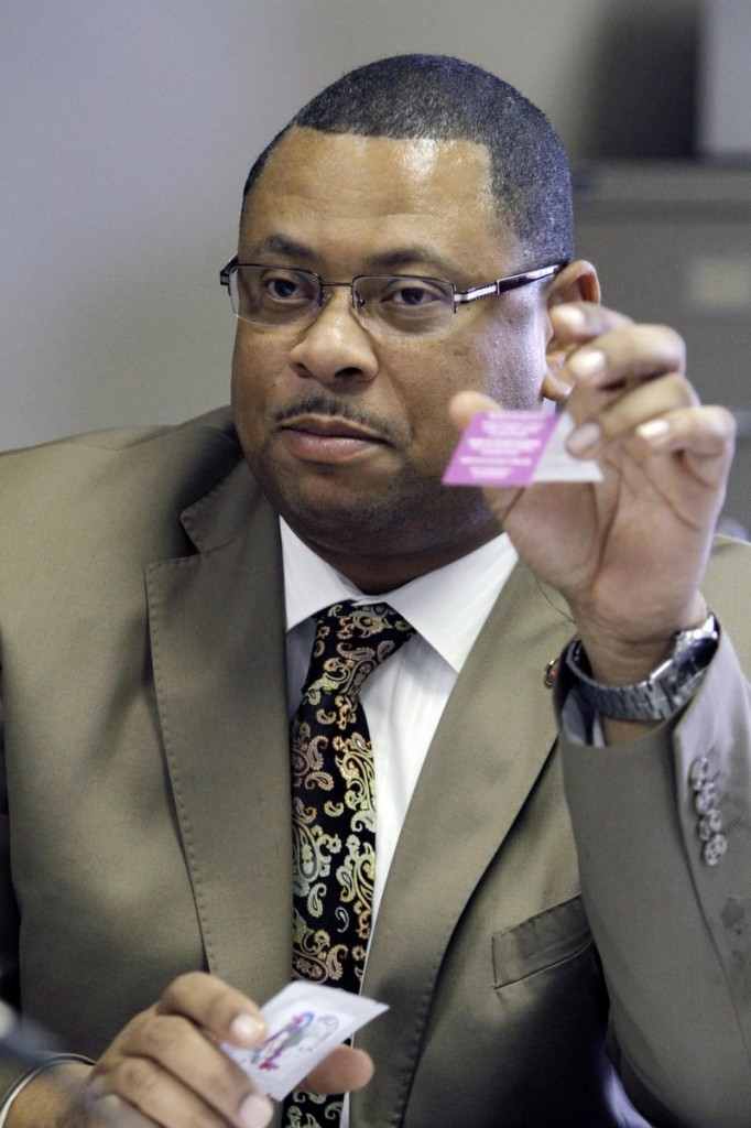 Mississippi Sen. Eric Powell asks a question about the chemicals that make up bath salts, which have been found to cause hallucinations, paranoia and suicidal thoughts, during a committee meeting at the Capitol in Jackson, Miss.