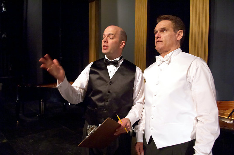 Tom Frey, left, and Jeffrey Rockwell star in Portland Stage Company s production of