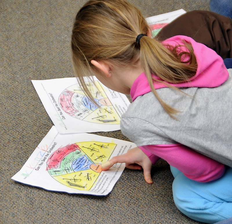 A Longfellow Elementary School student studies the different sections of the orchestra using crayon-colored worksheets in a class taught by Alyson Ciechomski.