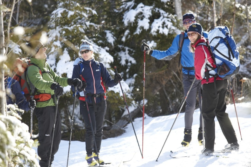 The Maine Huts & Trails system offers cross-country skiers the overnight comforts of soft beds, hot showers and family-style meals.