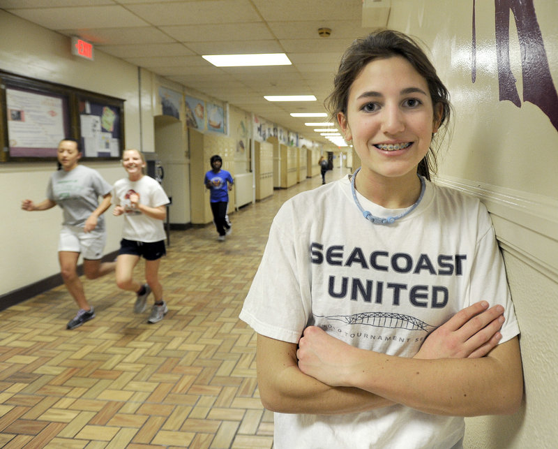 Edie Pallozzi is new to the sport of track and field, but she already has run state-meet qualifying times in three distance events for Deering.