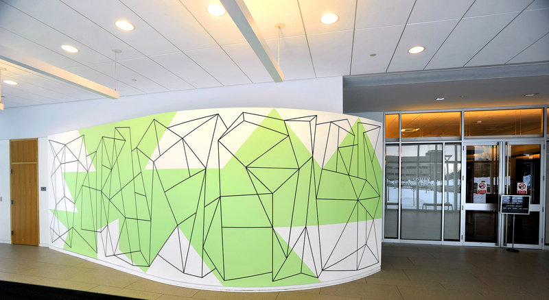 "Mark Wethli's mural ""Locus"" greets visitors to the Osher Map Library at the University of Southern Maine in Portland."