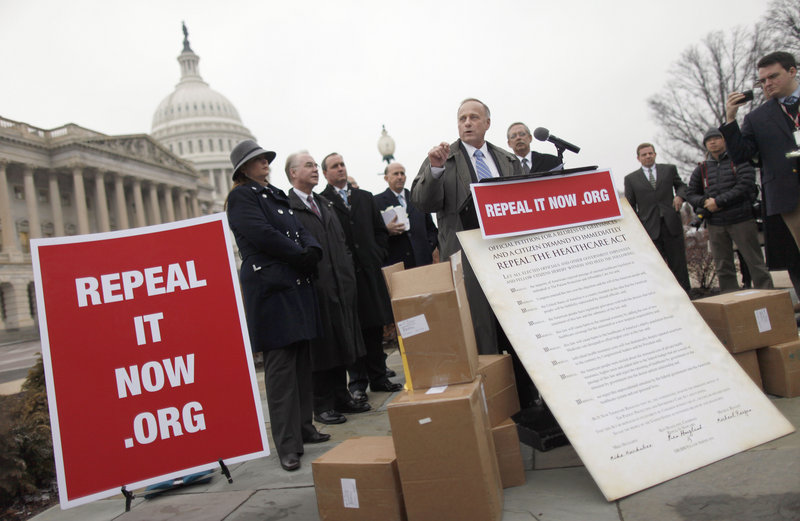 Rep. Steve King, R-Iowa, speaks during a news conference on Capitol Hill on Jan. 18, after accepting delivery of signed petitions demanding the repeal of 'ObamaCare.'