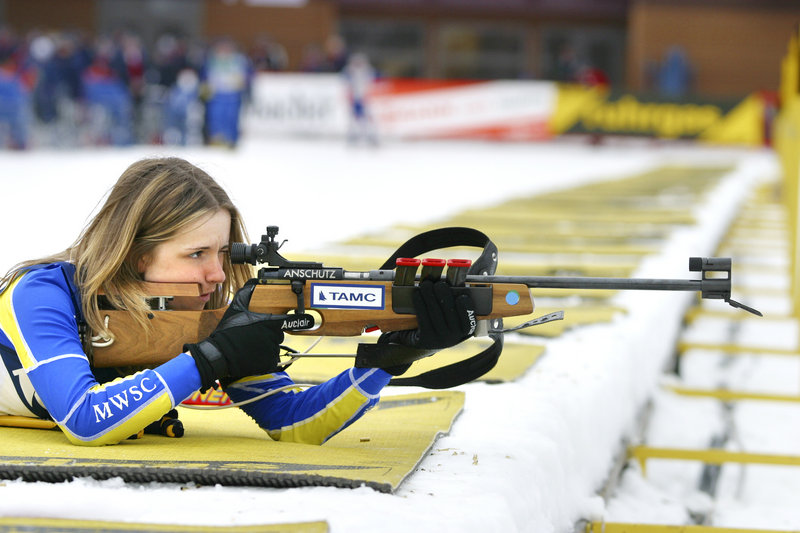 Meagan Toussaint of Madawaska takes aim with a rifle designed especially for her to use while competing in the biathlon.