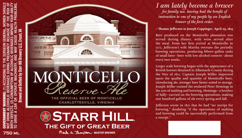 The label that will be used on Monticello Reserve Ale that will be produced by Starr Hill Brewery in Crozet, Va.
