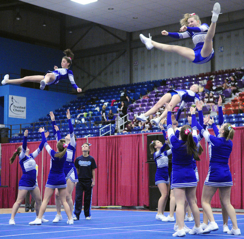 What goes up must come down, and the Morse cheerleaders prepare to do their catching during a portion of the routine at the regionals at Augusta.
