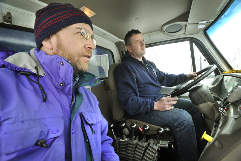 Reporter Ray Routhier rides with Portland Department of Public Services snowplow driver Joe Bernard.
