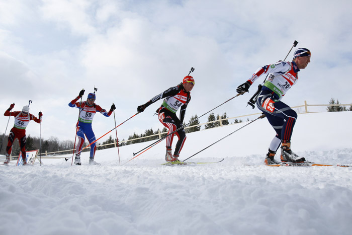 A pack of racers during the men's pursuit at the Biathlon World Cup last Sunday in Presque Isle.
