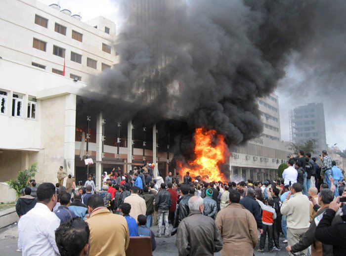 The local government headquarters is set on fire by protesters, claiming delays on requests for housing in Port Said today. Labor unrest across Egypt has given powerful momentum to the wave of anti-government protests.