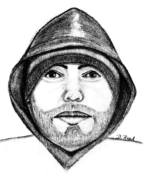 An artist's sketch of the Cigarette Store robber