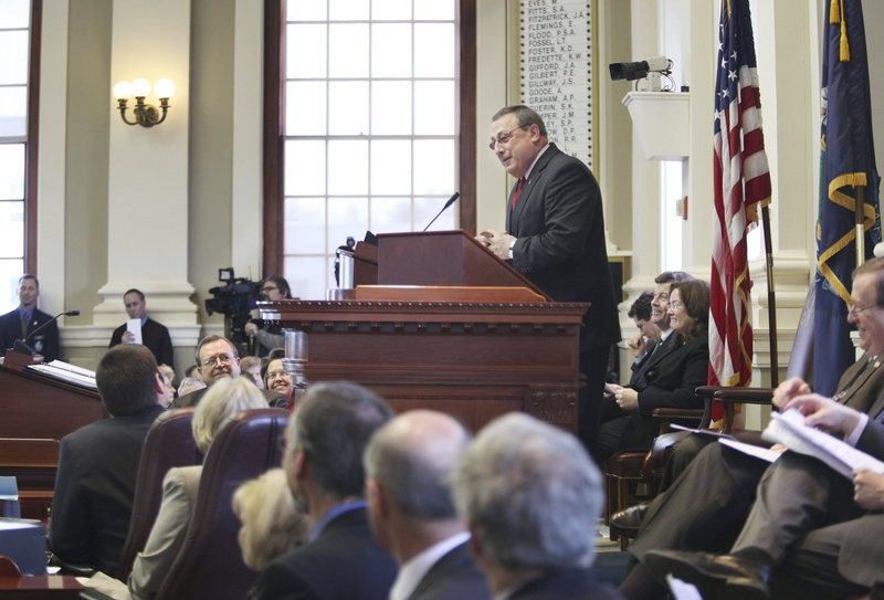 Gov. Paul LePage, shown unveiling his two-year state budget to a joint session of the Maine Legislature this month, will submit individual bills aimed at his vision for regulatory reform.