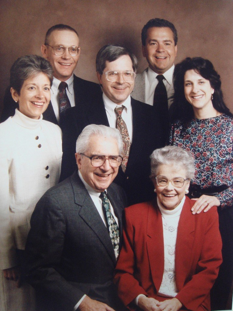 The Rev. Robert Frederich with his wife, Nona, front, and their family. He was a pastor at churches in California, Illinois, Iowa, Colorado and Maine for about 60 years.