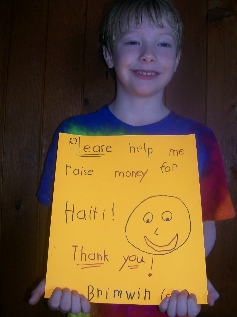 Brimwin Peabody, 8, a second-grader at Pleasant Hill school in Scarborough, raised $74.64 for the people of Haiti at a swim meet.