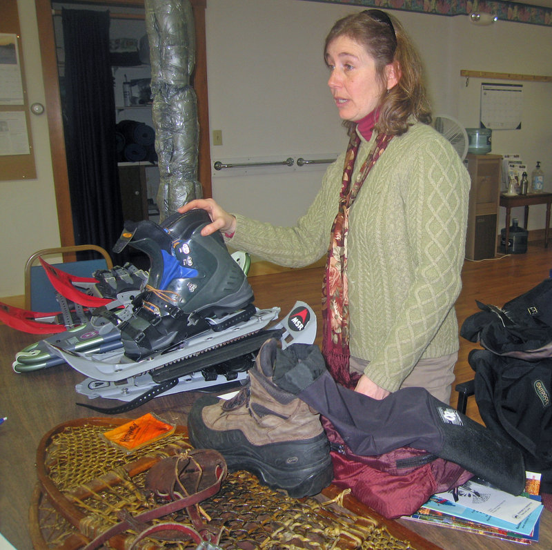 Sugarloaf ski instructor and outdoor sports enthusiast Lori La Rochelle will detail the basics of snowshoeing, including use of equipment and how to dress for outings, at 10 a.m. on Tuesday at Spectrum Generations in Damariscotta.