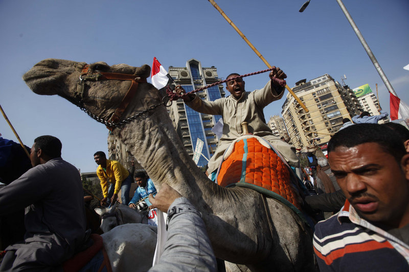 Mubarak supporters riding camels and horses charge into Tahrir Square in Cairo, Egypt, on Wednesday. The attack on anti-governmnent demonstrators appeared well planned, suggesting regime complicity, political observers say.