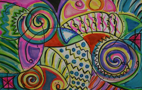 """Addie Graessle's """"Seven Motifs,"""" from the Portland Museum of Art's upcoming celebration of young artists. Addie is a seventh-grader from Cape Elizabeth."""