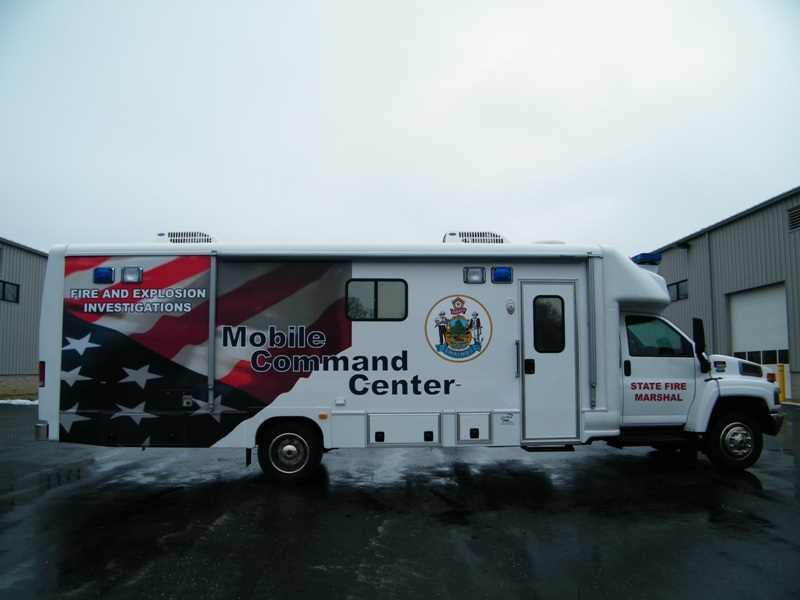 This mobile command center worth $180,000 was donated last week to the state Fire Marshal's Office by Lewiston natives Gil and Anne Blais in their parents' honor.