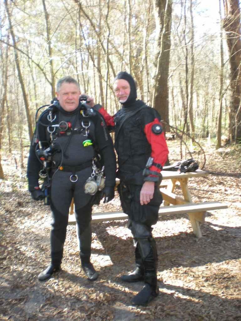 Dr. Stephen Klinker, left, a Waterville dentist, is all suited up in his cave diving gear. With him is his cave diving instructor, Larry Green of Florida.