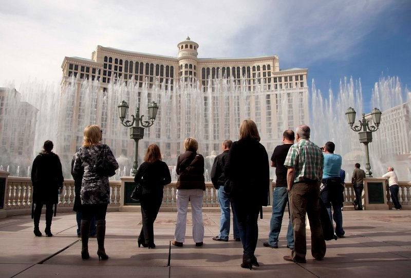 """The Bellagio Hotel and Casino, which has a fountain show popular with Las Vegas tourists, was robbed of $1.5 million in poker chips on Dec. 14. Anthony M. Carleo, the bankrupt son of a Las Vegas judge, was arrested this week on allegations that he is the """"Biker Bandit"""" who used a motorcycle to get away from the Bellagio after the gunpoint heist."""
