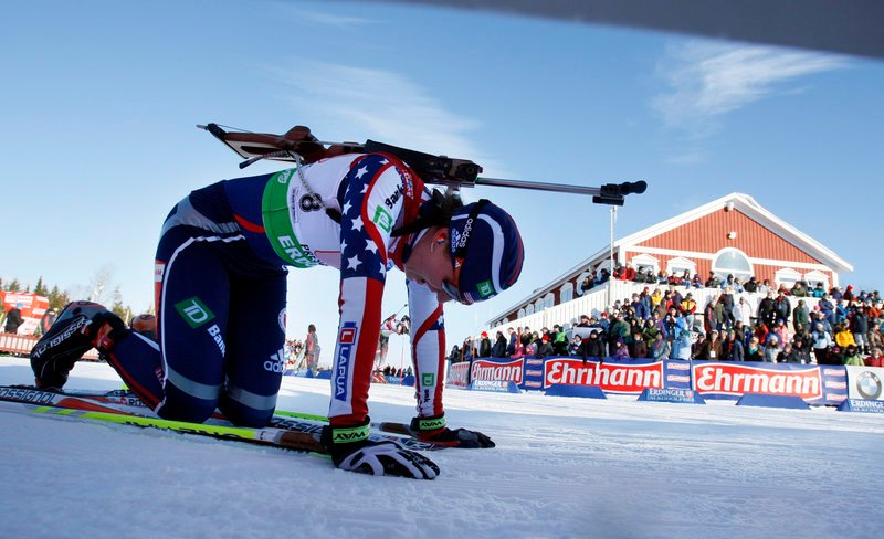 American Sara Studebaker catches her breath Saturday after completing the first leg in the mixed relay race at the Biathlon World Cup in Presque Isle. Studebaker finished in 18 minutes, 50.9 seconds, helping the U.S. to a seventh-place finish.